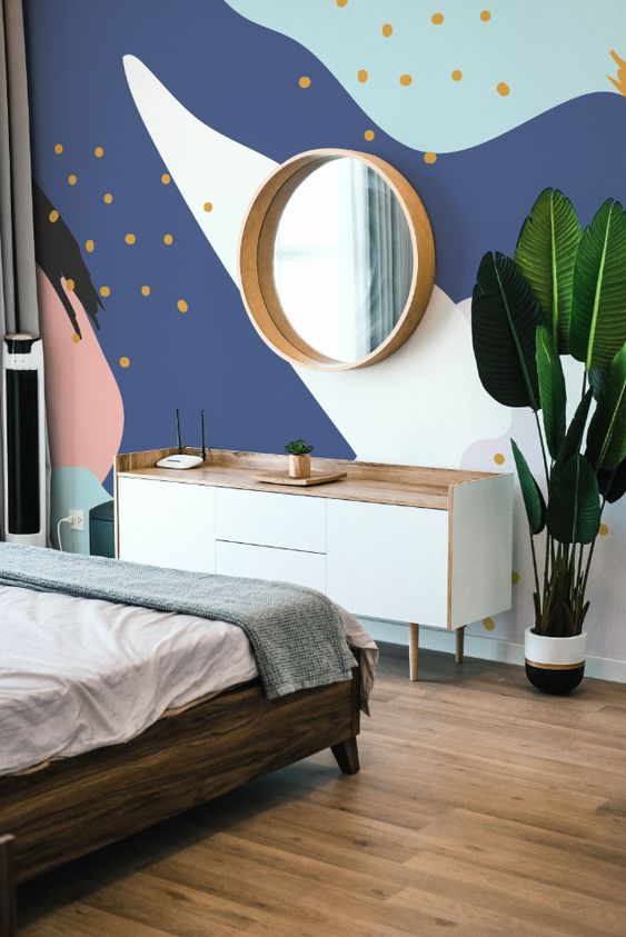 beautiful bedroom with abstract wall mural