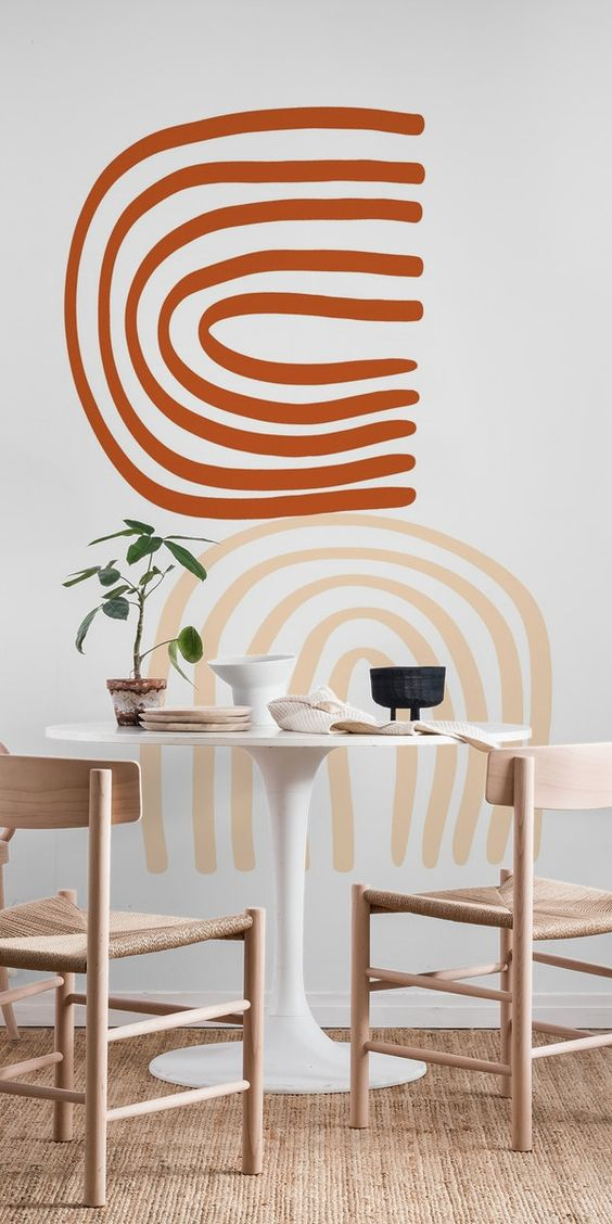 simple abstract wall mural