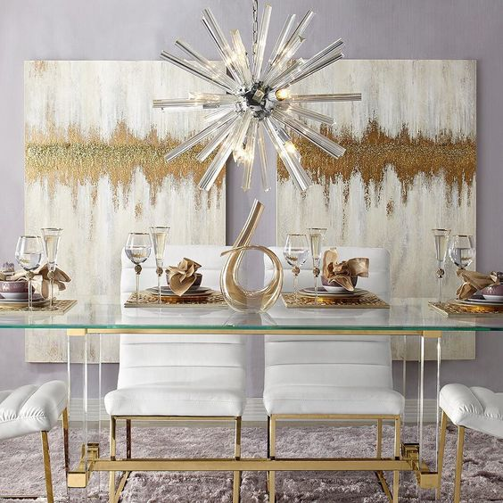 gold-colored dining table accessories