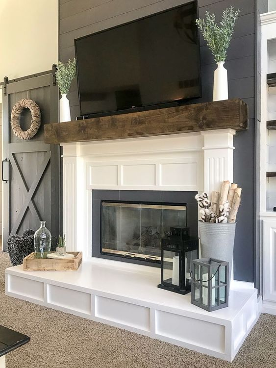 beautiful fireplace with LED TV