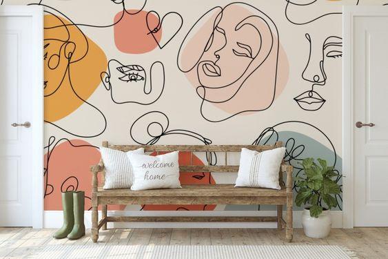 beautiful abstact wall mural ideas