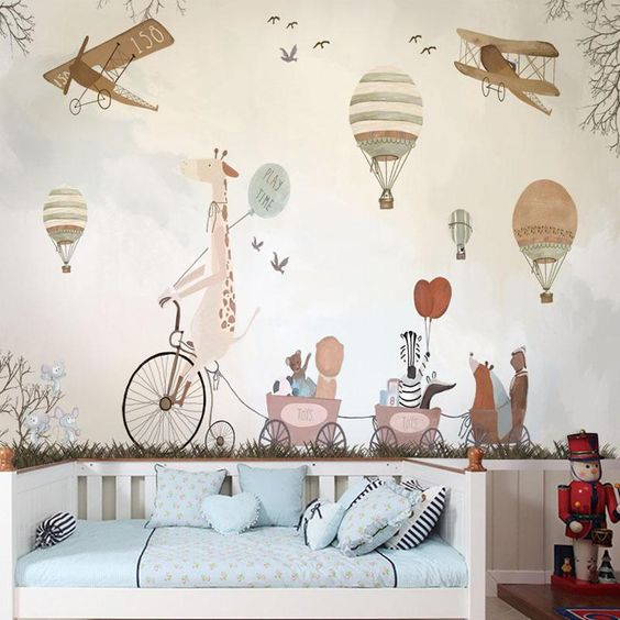 simple animal wall mural