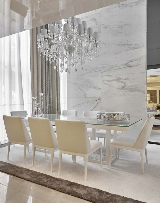 marble dining room wall