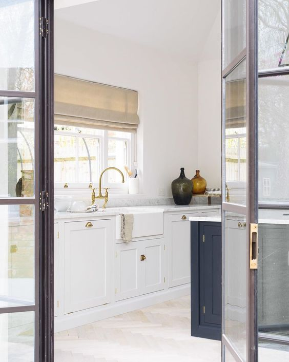 bright kitchen with glass door