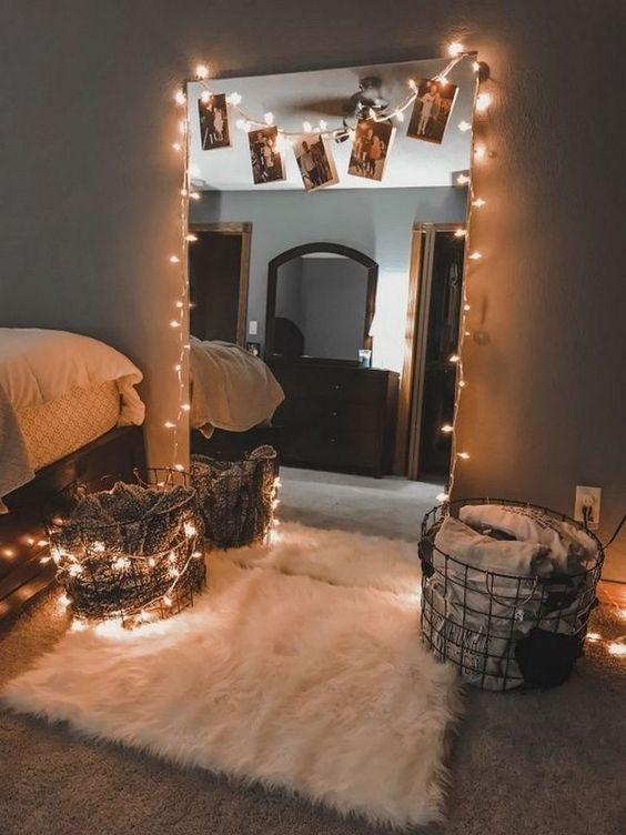 beautiful mirror with string light