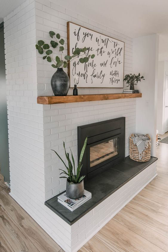 fireplace decor with wall displays
