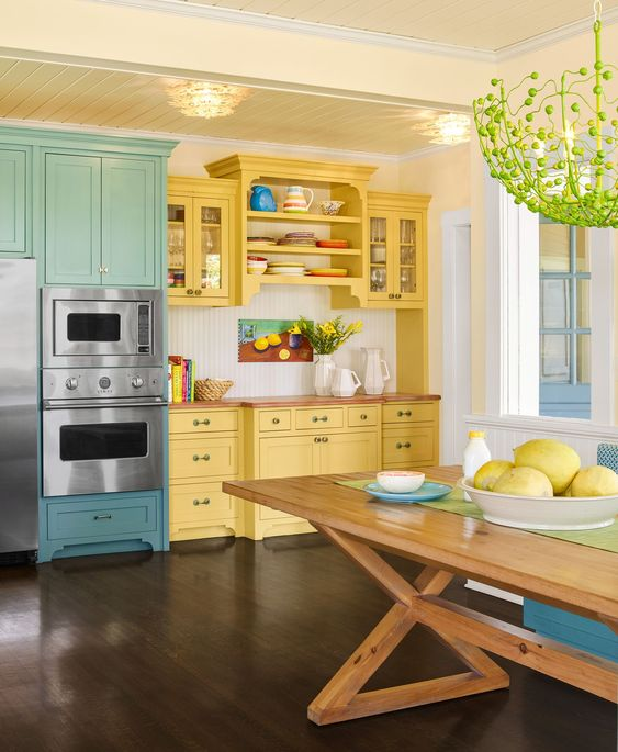 bright kitchen with yellow