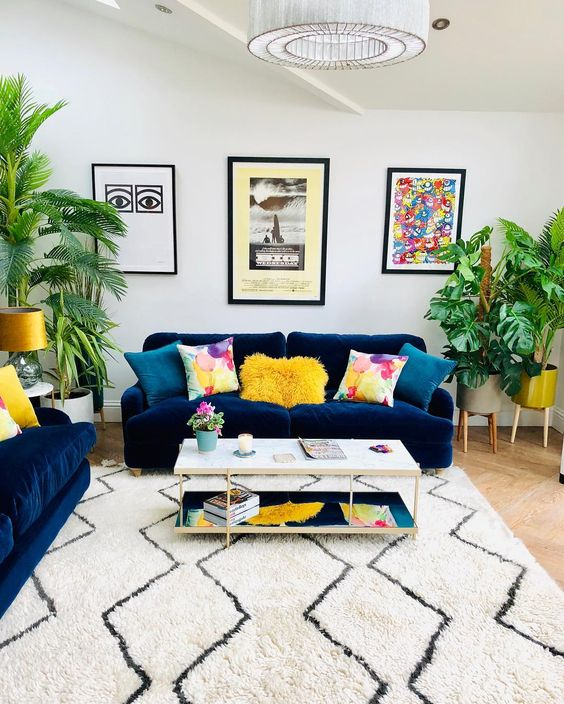cheerful living room with bright colors