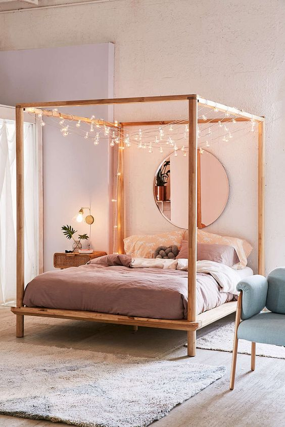 string light for cozy bedroom