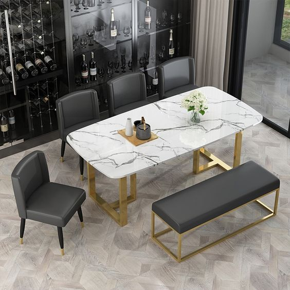 marble element for small elegant dining room