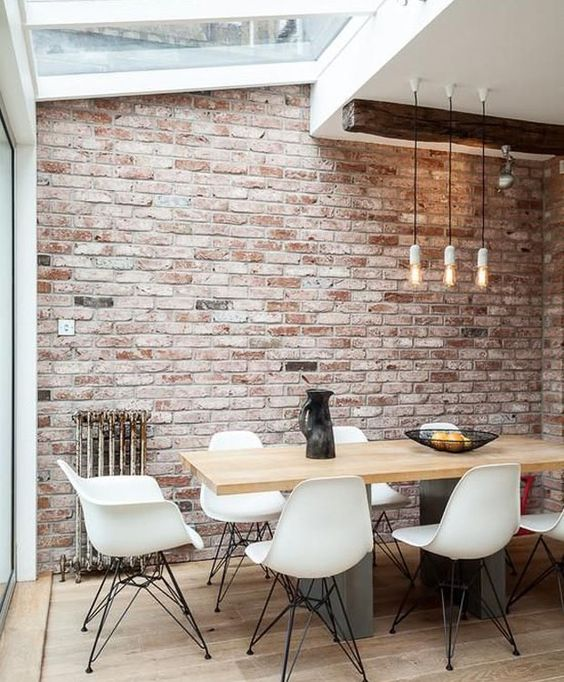 exposed brick wall for dining room