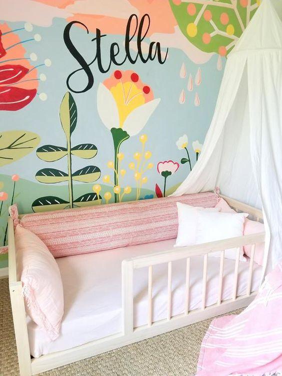 flower wall mural for kid's room