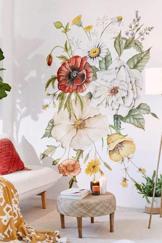 flower wall mural for living room