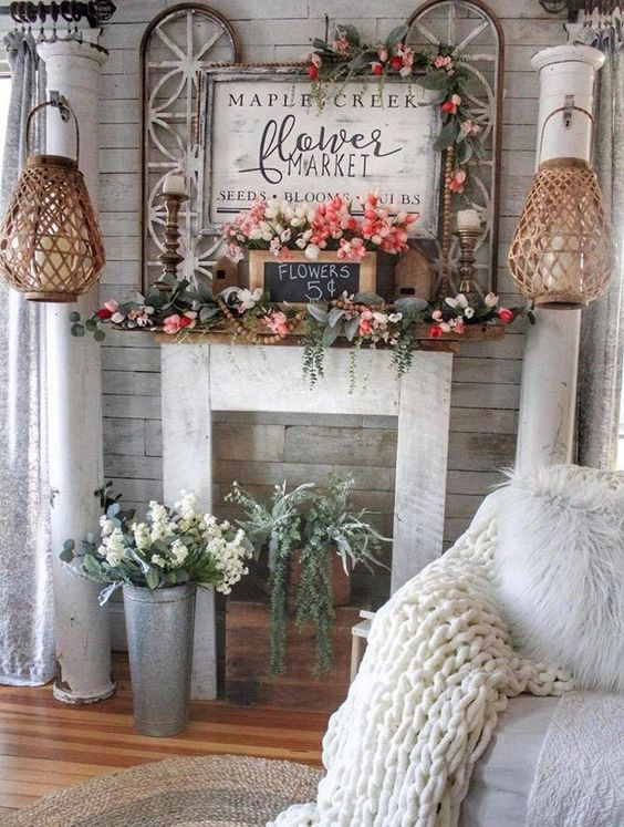 flowers fireplace decor