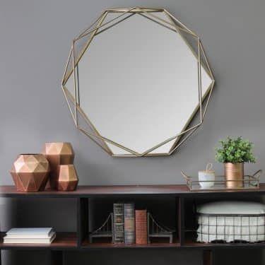 polygon-shaped mirror for elegant room