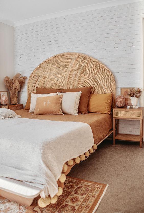 rattan headboard make the bedroom look beautiful