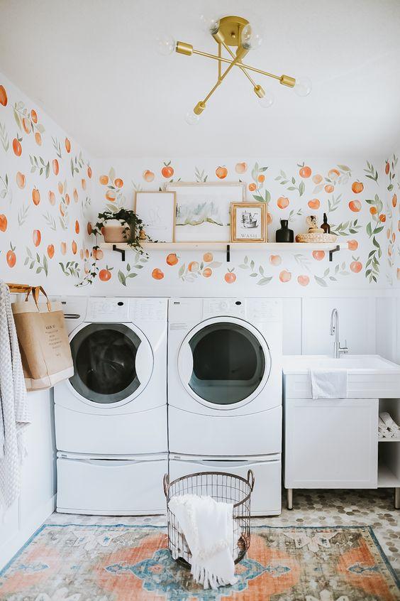 peach simple bathroom
