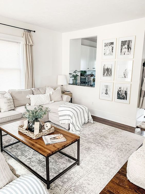 simple white living room