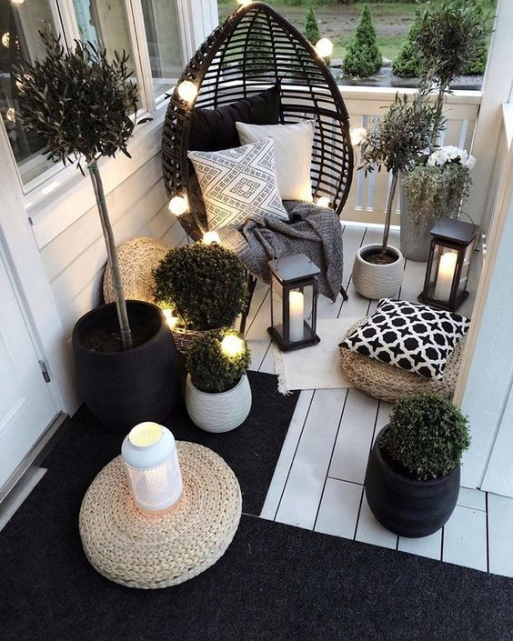 warm terrace lighting