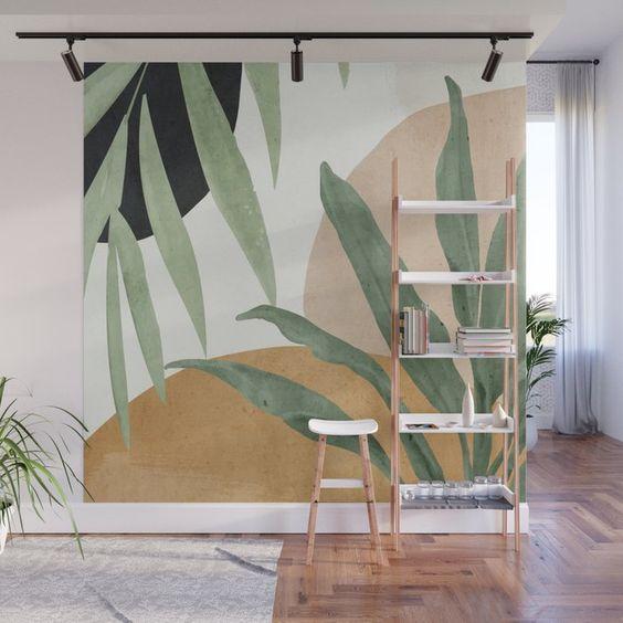 simple tropical leaves wall mural