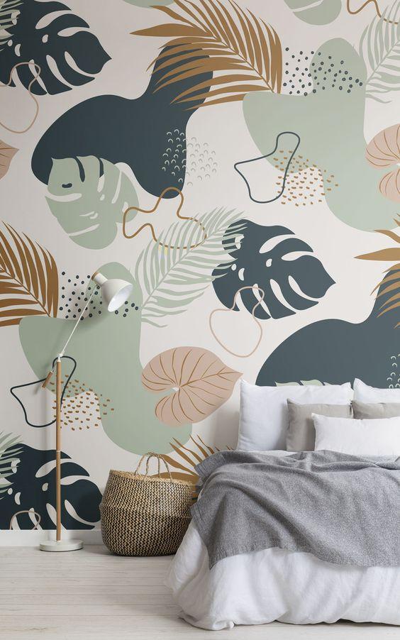 beautiful tropical leaves wall mural