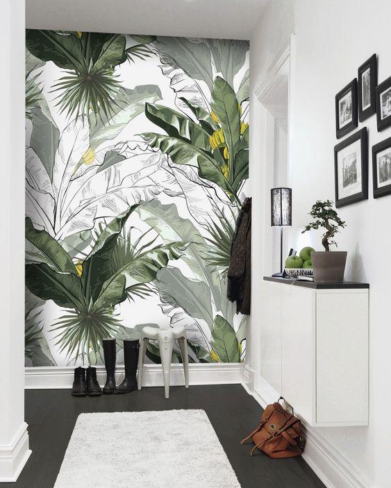 fresh tropical leaves wall mural