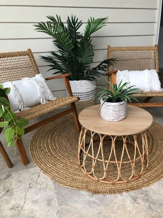 rattan items for beautiful and cozy terrace