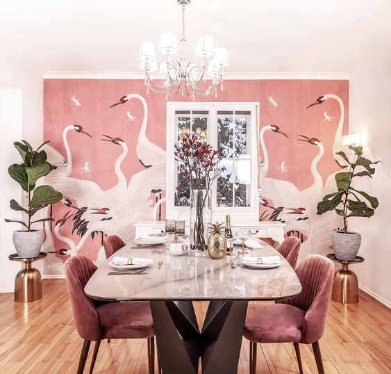beautiful dining room with wall mural