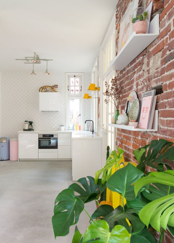 exposed brick wall for dutch home