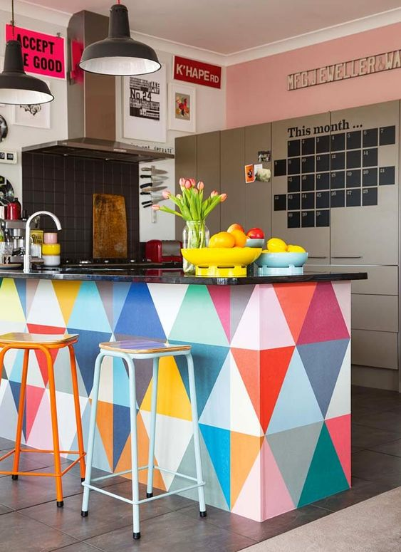 simple minimalist colorful kitchen
