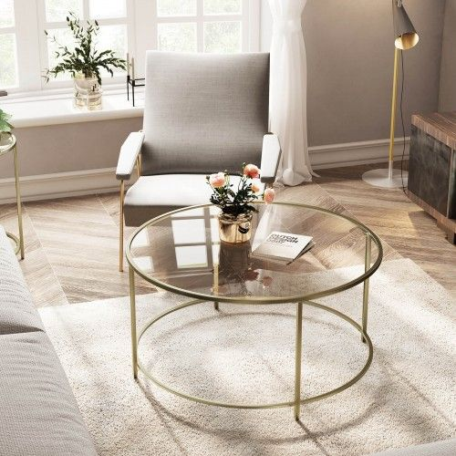 round coffee glass table