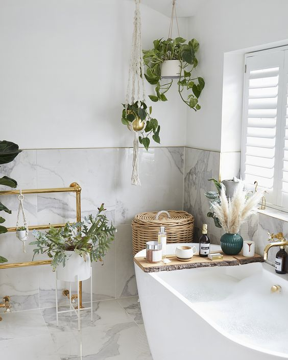 fresh bathroom with plant decor