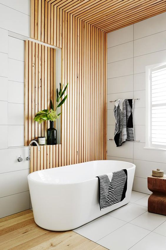 wooden bathroom wall