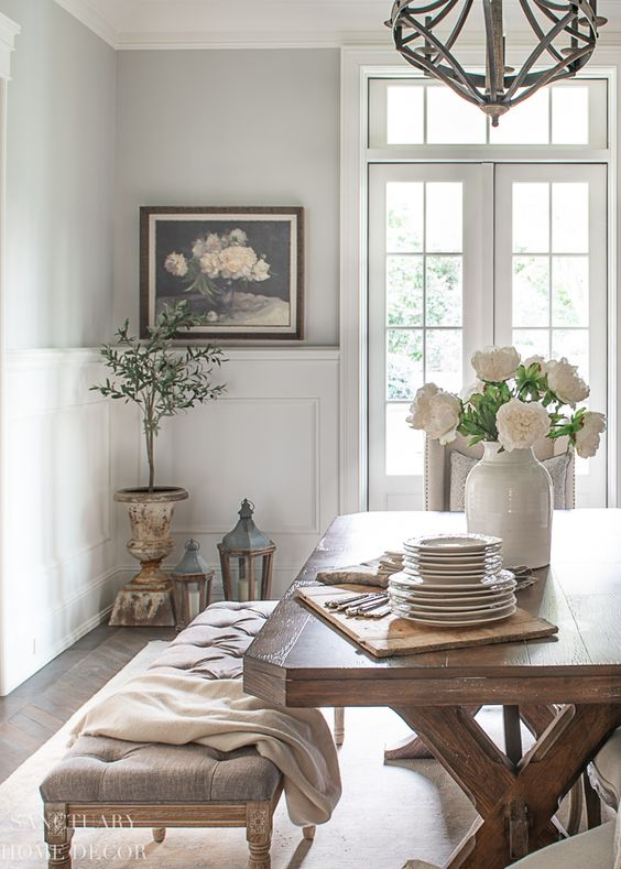 pretty flowers dining room decor
