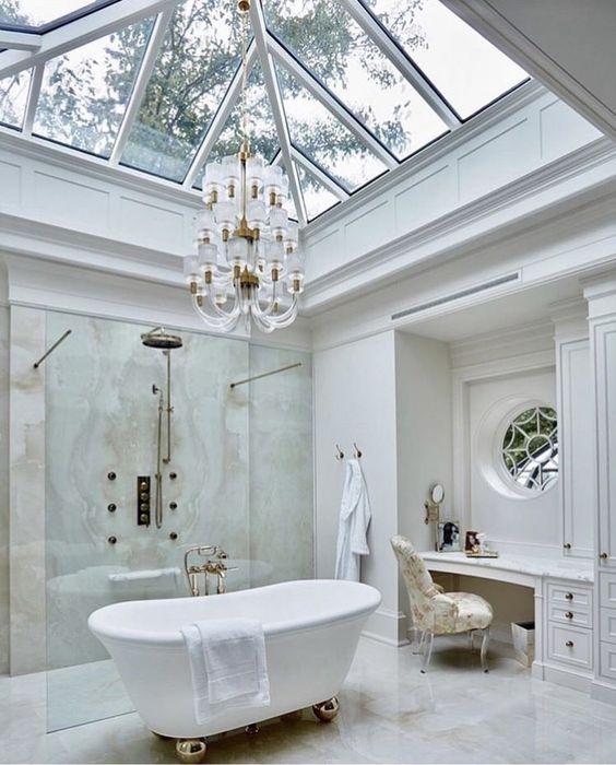 elegant bathroom with skylight window
