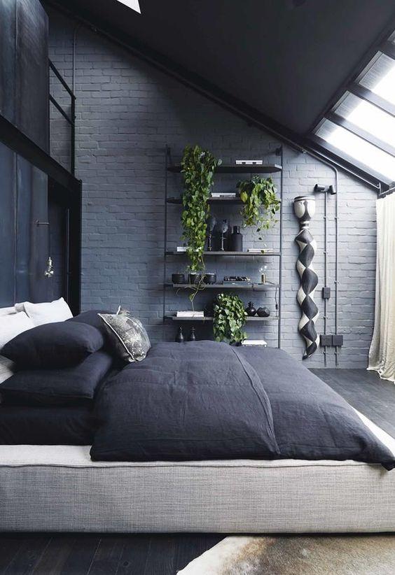 attractive masculine bedroom