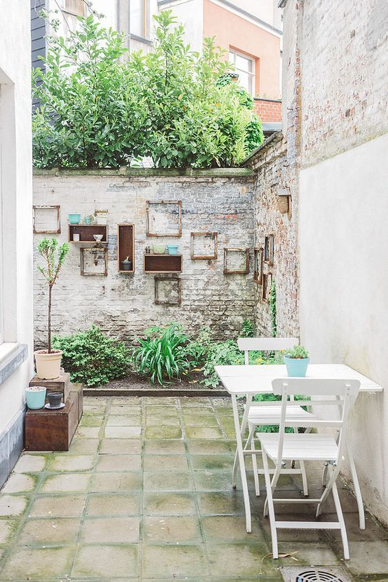 exposed brick wall for small garden