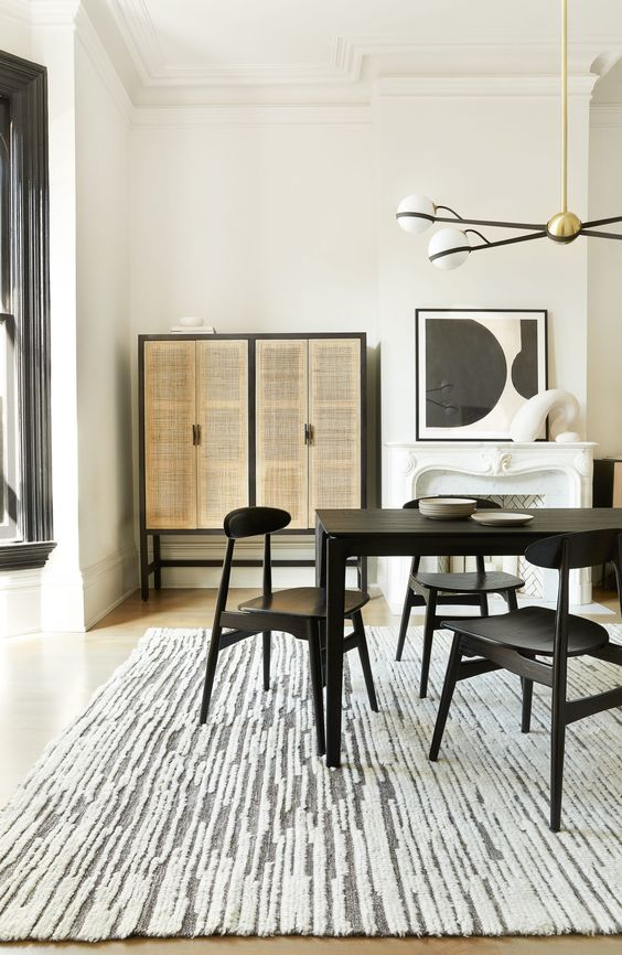 cozy monochrome dining room