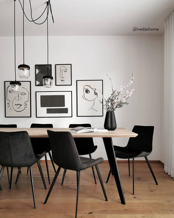 artsy monochrome dining room