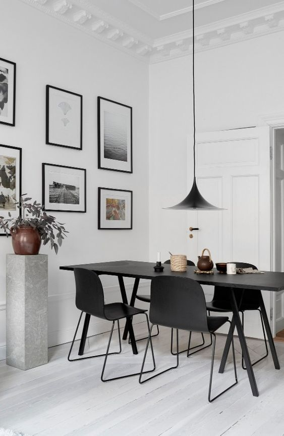 simple monochrome dining room