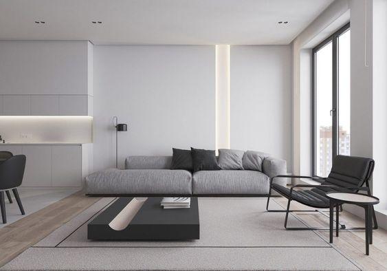 modern minimalist monochrome living room