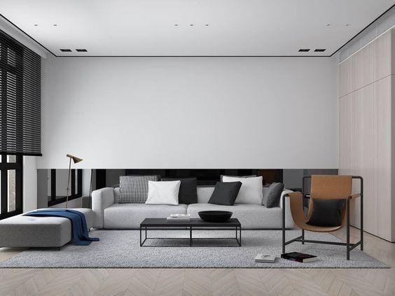 cozy modern minimalist monochrome living room