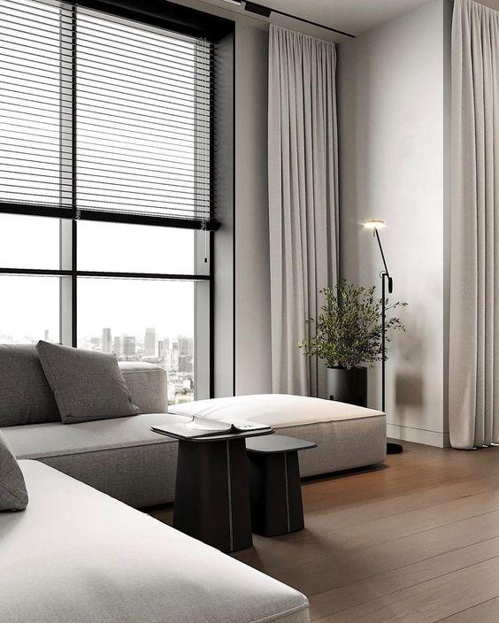 fabulous modern minimalist monochrome living room