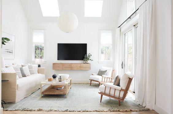 Scandinavian living room glass door