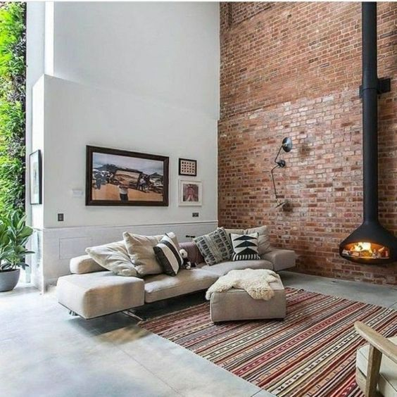exposed brick walls large living room