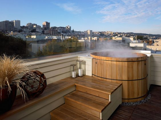 cozy rooftop with jacuzzi