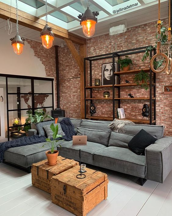 exposed brick walls small living room