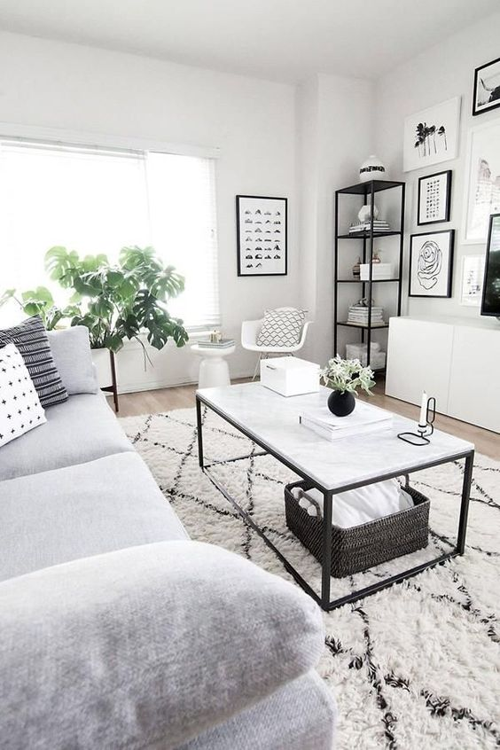 monochrome small living room