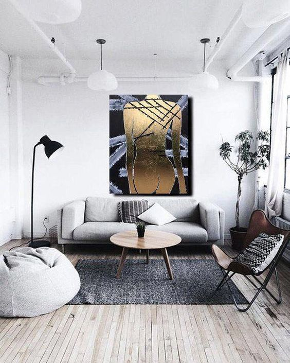 monochrome small living room design