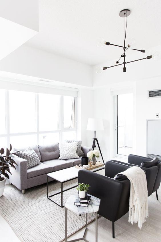 monochrome small living room display